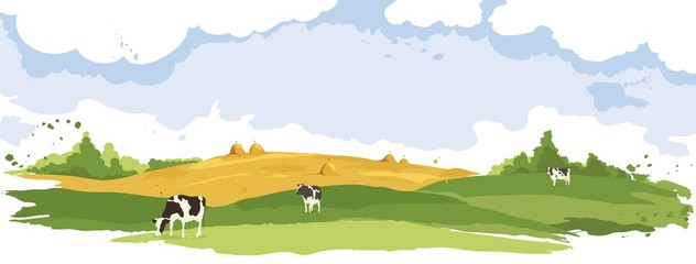 Abstract rural landscape with cows. Watercolor illustration, wheat fields and meadows