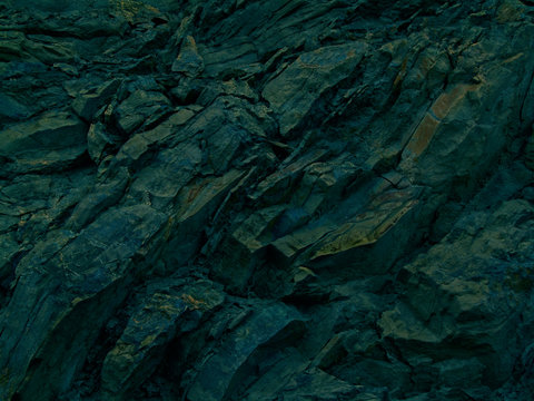 Abstract blue green black grunge background. Toned rock texture. Modern colorful stone background with 3d effect. Dark turquoise grunge background. Web banner. Copy space.