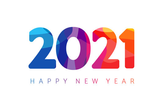 Happy New Year 2021 colorful facet logo text design. Cover of business diary for 2021 with wishes. Brochure design template, Xmas card, sale banner. Vector Christmas illustration on white background