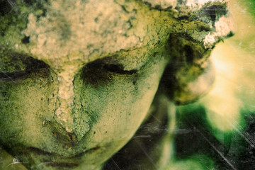 Fototapete - Angel. Fragment of antique statue. Retro styled image.