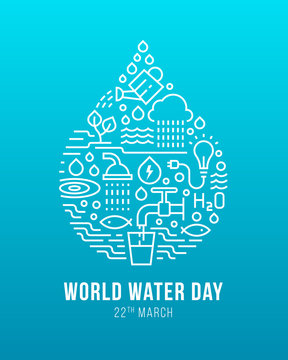 World water day banner - drop water sign with line icon about water use on blue background vector design