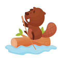 Funny Beaver Sailing Down the River Vector Illustration