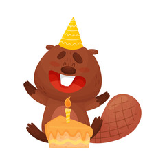 Cartoon Beaver Character Blowing Out the Candle on Birthday Cake Vector Illustration