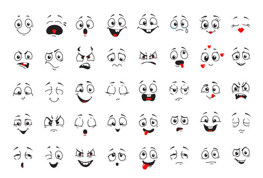 Cartoon comics faces set, Smiling, crying and surprised character face icons. Happy or sad comic emotions collection
