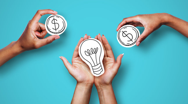 Hands with dollar sign coins and light bulb