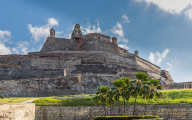 Panoramic of the fortified castle of San Felipe in the city of Cartagena de Indias, Colombia. This fortification was the defense of the city against English invaders and also the Spanish conquerors.