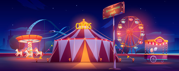 Amusement park at night. Carnival circus tent, ferris wheel, roller coaster, carousel and candy cotton booth with glow illumination. Festive fair entertainment attractions. Cartoon vector illustration Fototapete