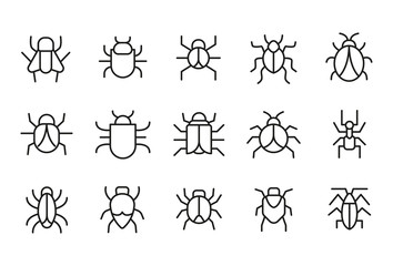Modern thin line icons set of bug.