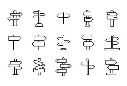 Stroke line icons set of sign post.