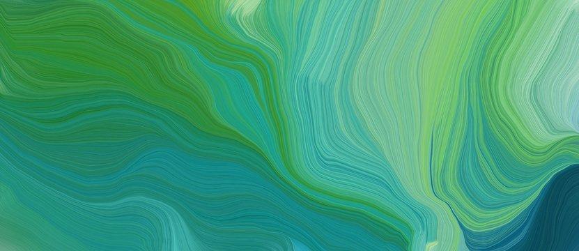 colorful horizontal banner. elegant curvy swirl waves background design with medium sea green, sea green and dark sea green color