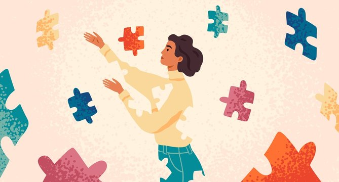 Self healing, recovery flat vector illustration. Woman assembling herself cartoon character. Girl feeling incomplete, looking for fitting puzzle pieces. Mental rehabilitation, psychotherapy concept.