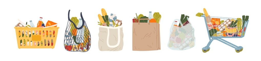 Photo sur Aluminium Cuisine Shopping bags and baskets flat vector illustrations set. Grocery purchases, paper and plastic packages, turtle bags with products. Natural food, organic fruits and vegetable. Department store goods.