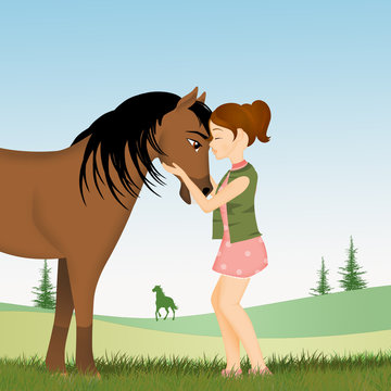 illustration of little girl and horse in the meadow
