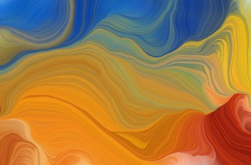 smooth swirl waves background illustration with bronze, teal blue and firebrick color. can be used as wallpaper, background or texture Wall mural