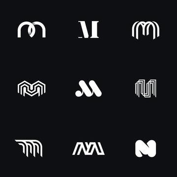 "Letter ""M"" minimal line logos. Original geometric forms for logotype. Eps10 vector."