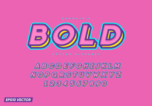 Cartoon font with numbers. Trendy 3d alphabet. Eps10 vector.