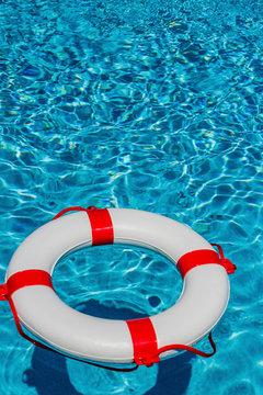 a lifebuoy in a pool