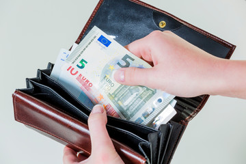 wallet with euro bills