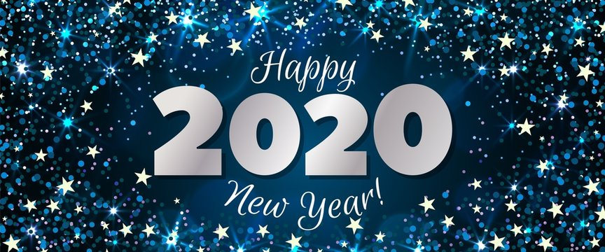 Happy New Year 2020 greeting horizontal banner. Festive illustration with colorful confetti, party popper and sparkles. Vector