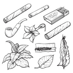 Cigars and tobacco monochrome sketch illustrations set