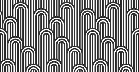 Seamless pattern with twisted lines, vector linear tiling background, stripy weaving, optical maze, twisted stripes. Black and white design.
