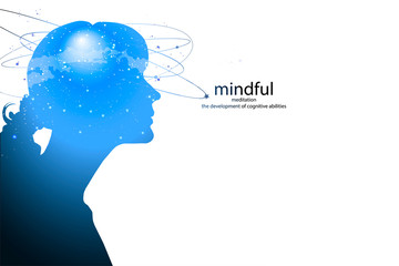 Profile of a young woman with mental activity brain and consciousness, with the cosmos as a brain. Wall mural