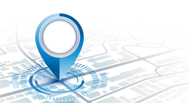 Gps pin with hud element digital concept in gradient cool tone