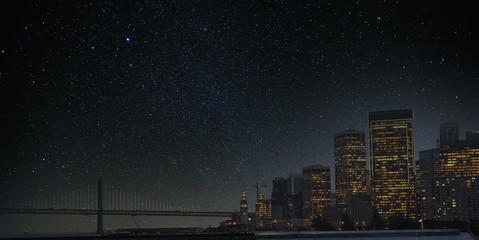 Wall Mural - Bay Bridge and San Francisco at Night