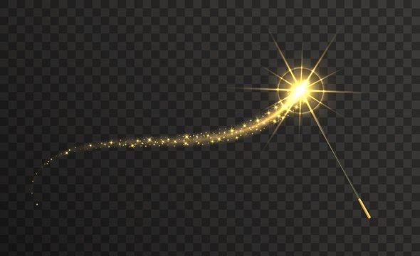 Magic wand with golden swirl and sparkles isolated on transparent background. The magic scepter with stardust trail.