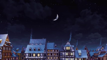 Wall Mural - Rooftops with smoking chimneys of traditional half-timbered european houses at cozy medieval town under starry night sky with big half moon at calm winter night. Decorative 3D animation rendered in 4K