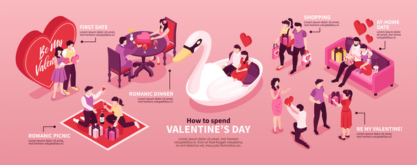 Dating Valentine Isometric Composition