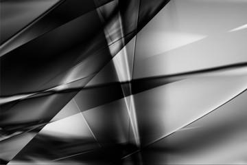 モノクロームのメタリックなクールなガラス質感のアブストラクト