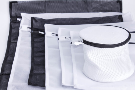laundry bags white and black