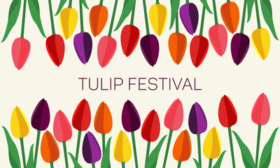 Multi-colored tulips of simple form frame above and below. In the middle is inscription. Cute image is suitable for banners, cards. The concept of spring, summer. Red, yellow, orange, violet shades.