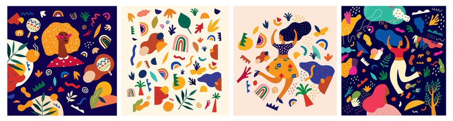 Decorative abstract collection with colorful doodles. Hand-drawn  modern illustrations
