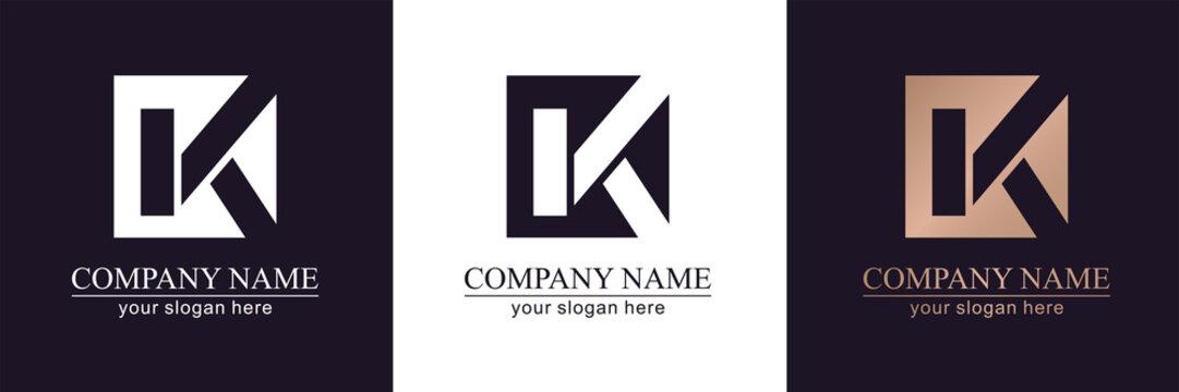Letter K V logo or monogram. blank for business card. For your business. Vector sign.