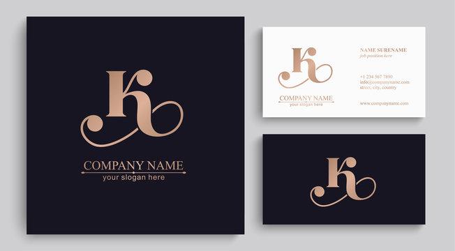 Letter K logo or monogram. blank for business card. For your business. Vector sign.