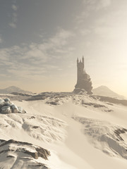Fantasy illustration of an isolated wizard's tower in snow covered winter hills, 3d digitally rendered illustration