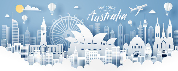 Paper cut of Australia landmark, travel and tourism concept. Wall mural