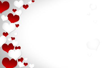 The red and white heart on the background is used for placing products and festivals.