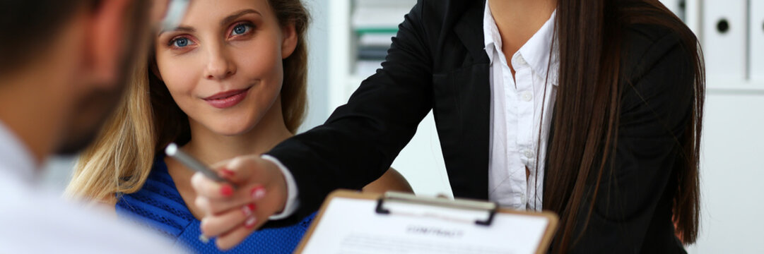 Beautiful woman offer contract form on clipboard pad