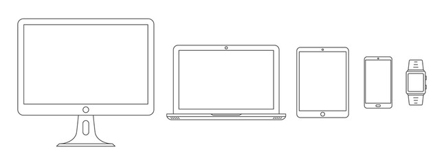 Obraz Set of linear device icons. Vector outline devices - fototapety do salonu