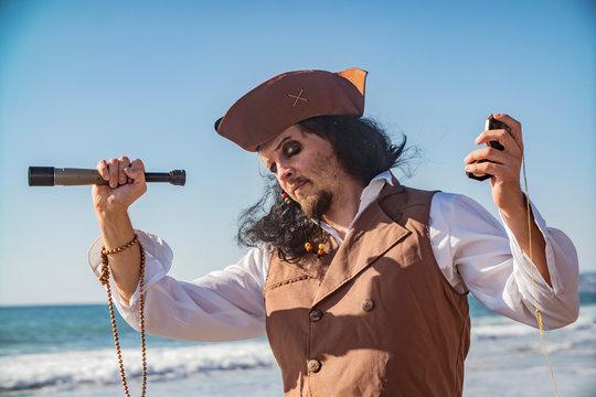 pirate man portrait at the sea