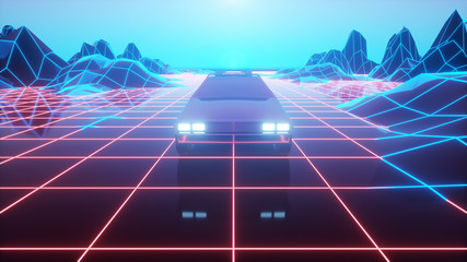 Retro futuristic car in 80s style moves on a virtual neon landscape. 3d illustration
