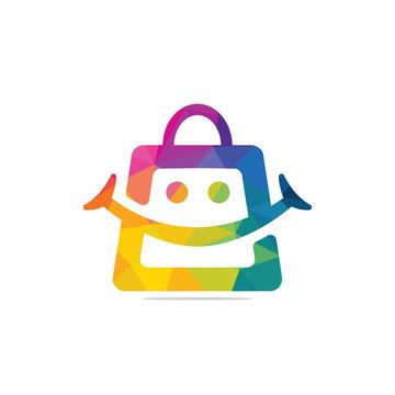 Smiling shopping bag vector logo design.