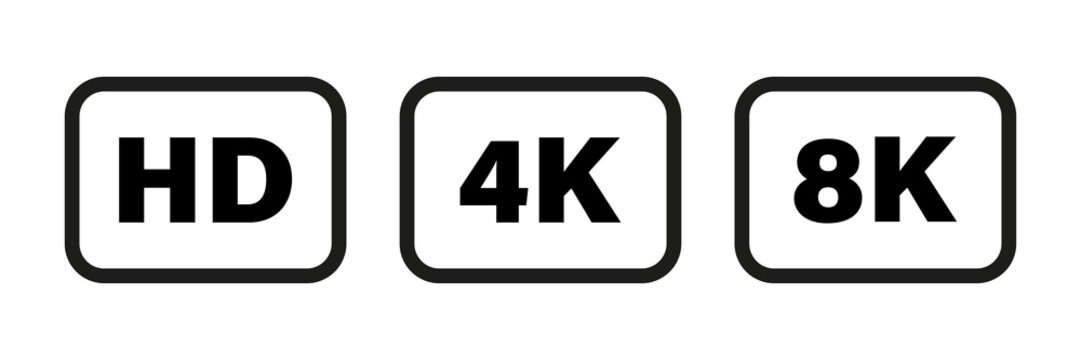 8K 4K HD video format vector icon isolated on white background. Web tv screen concept. High resolution.