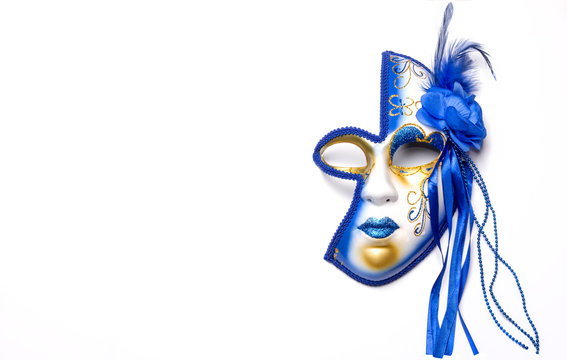 mask for Mardi Gras blue and gold on a white background