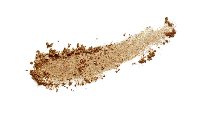 Bronzer swatch. Brown eyeshadow, shimmer face powder texture. Bronze color makeup smear isolated on white background