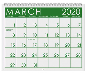 2020: Calendar: Month Of March