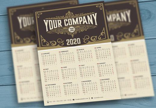 Vintage Calendar Layout